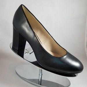Halston Black Leather Lenna Block Heel Pump-Size 6